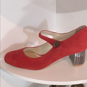 LN Hotic red suede Mary Janes